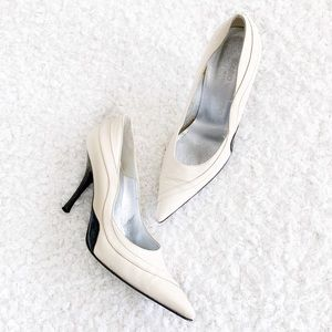 Valentino Vintage Pointed Toe Two Tone Pumps